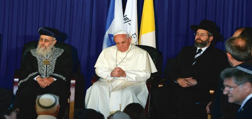 "Pope Francis visits with Israel's two chief rabbis, Ashkenazi Rabbi David Lau, right, and Sephardic Rabbi Yitzhak Yosef, left, in at the Heichal Shlomo center in Jerusalem May 26. The pope told them that Jews were not collectively responsible for the death of Jesus and called on Christians and Jews to develop greater appreciation for their common ""spiritual heritage,"" through deeper knowledge of each other's faith, especially among the young. (CNS photo/Paul Haring) (May 26, 2014) See POPE-INTERRELIGIOUS May 26, 2014."
